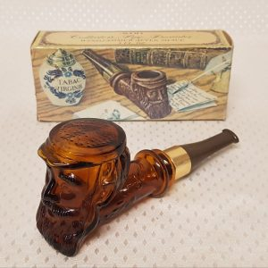 "Aftershave Lotion brown glass ""Old Man Pipe"" decantor"