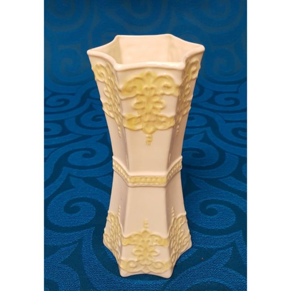 Belleek Porcelain two tone hexagon vase with yellow luster