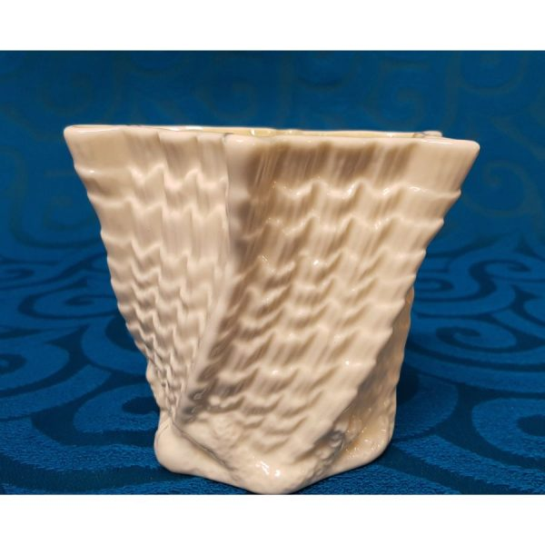 Belleek Porcelain Twisted shell, hexagon limpet vase