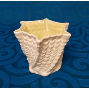 Belleek Porcelain Twisted shell, hexagon limpet vase