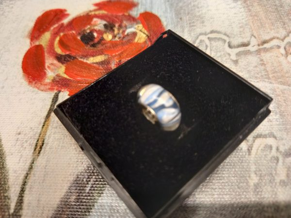 Blue and white marble effect charm
