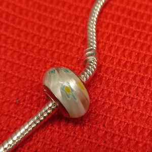 Marble effect silver charm with green, blue, yellow & white flecks