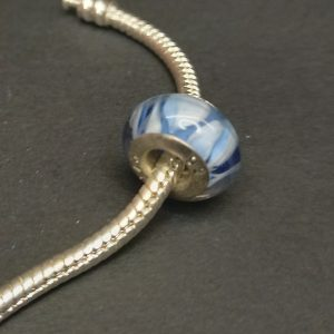 Blue & white marble effect silver charm