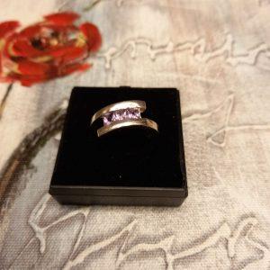 Silver (925) three stone Amethyst ring, size Q
