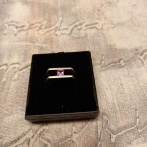 Silver (925) single stone Amethyst ring, size N