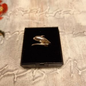 Silver (925) dolphin ring. Size R.